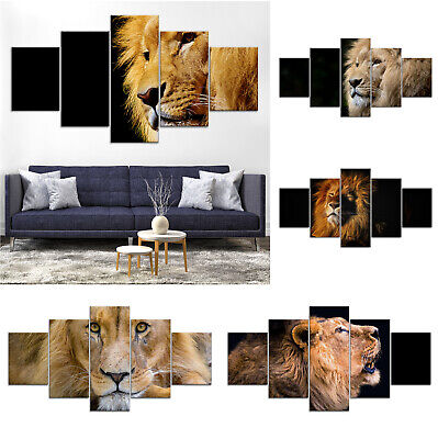 Lion Animal Modern Canvas Print Painting Framed Home Decor Wall Art Poster 5P