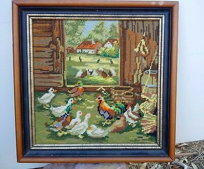 Vintage Country cottage garden hand made cross stitch embroidery picture art