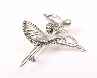 Sterling Silver and marcasite Ballerina Brooch