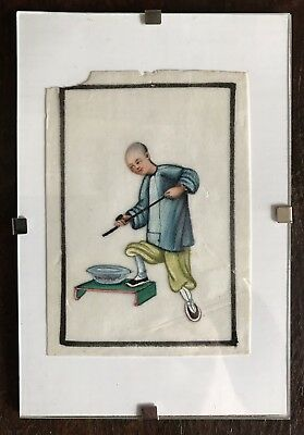 Antique Qing Chinese Export Rice Paper Pith Painting Man