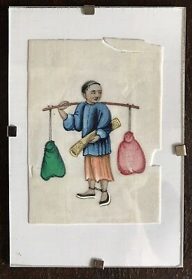 Antique Qing Chinese Export Rice Paper Pith Painting Man Carrying Equipment