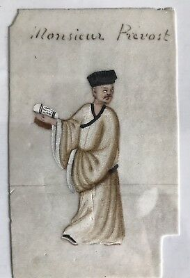 Antique Qing Chinese Export Rice Paper Pith Painting Official 'Monsieur Prevost'
