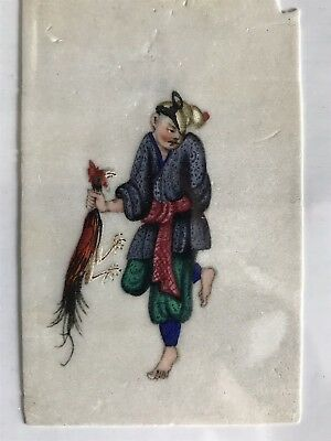 Antique Qing Chinese Export Rice Paper Pith Painting Thief With Rooster