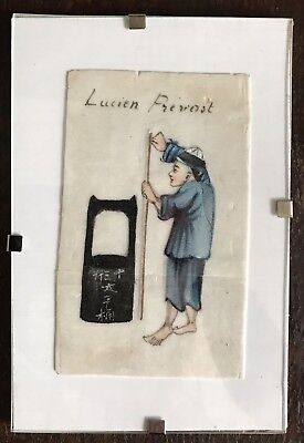 Antique Qing Chinese Export Rice Paper Pith Painting Lucien Prevost Teacher
