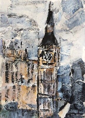 Original Art Collage Rustic Mixed Media London Big Ben Houses Of Parliament