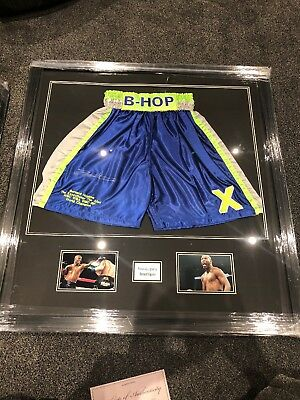 *New*  Bernard Hopkins Hand Signed And Framed Custom Made Boxing Trunks