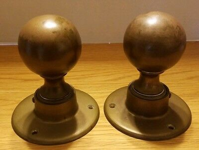 """Vintage 6"""" Brass Newel Post Finial Large Door Knob Staircase Post Top - Lot of 2"""