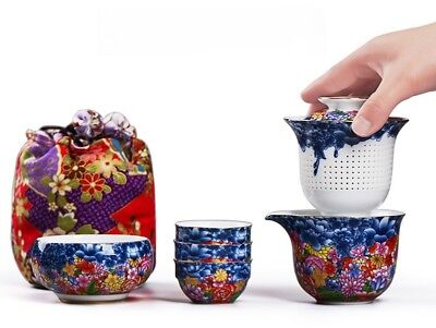 Chinese Porcelain Tea Sets Portable Kung Fu Tea Pot Cup Travel Camping Watering