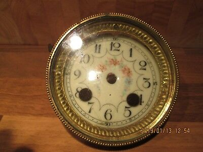 Antique Enamel Clock Face Dial & Glass with Bezel Parts Repair A Cooling Redhill
