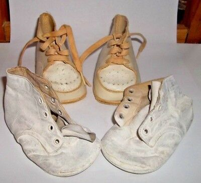 Vintage Baby Shoes Doll Shoes Two Pairs