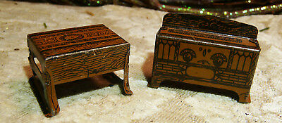 Vintage 2 Pc Furniture..Table with tin litho lace, sideboard radio. Marx Cr Jack
