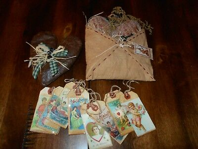 Primitive Handmade Valentines Envelope - 8 tags and decorated Heart