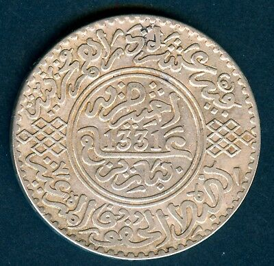 MOROCCO Large 10 Dirhams 1331AH Paris Mint KM 33 Silver