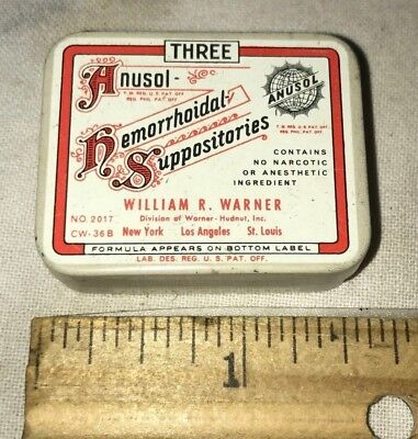 Antique Anusal Hemorrhoidal Suppositories Vintage Medicine Remedy Tin Litho Can