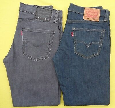 4642d0261ac 2 Pair LOT Mens LEVIS 33x32 Actual 32 x 30 SLIM Skinny 511 Stretch Denim  Jeans
