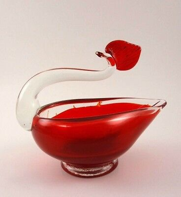 Ruby & Crystal Art Glass Figural Swan Bowl Murano?