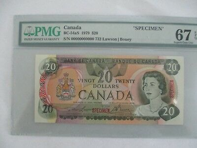 1979 Bank of Canada $20 specimen BC-54aS PMG 67