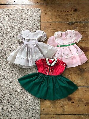 Vintage 1950s Baby Girl Party Dress Lot Sheer Floral Doll 12 Months AS IS