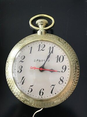 Vintage SPARTUS CO.  Pocket Watch Electric Wall Clock Gold WORKING