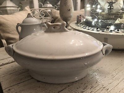 Vintage Antique Beautiful Ornate White Ironstone Soup Vegetable Tureen