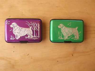Clumber Spaniel- Hand engraved  Stainless Credit Card Wallet by Ingrid Jonsson.