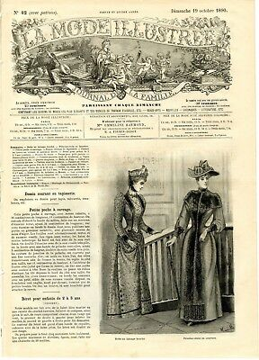 French MODE ILLUSTREE SEWING PATTERN October 19,1890