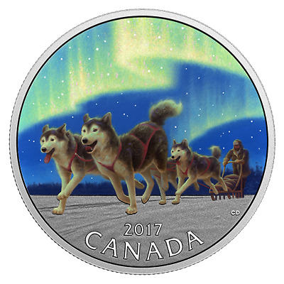 2017 CANADA 10$ DOG SLEDDING ICONIC 1/2oz FINE SILVER COIN UNDER NORTHERN LIGHTS