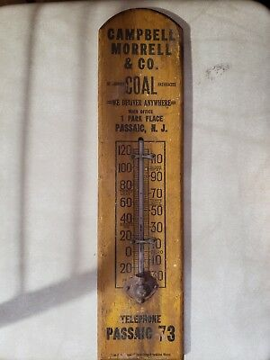 Rare Antique Wood Advertising Thermometer