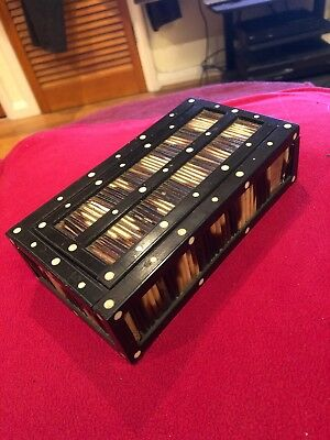 Lovely Vintage Small Porcupine Quill Box With Slide Lid