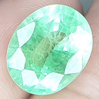 13.31 Cts Big Columbian Genuine Untreat Recommended Vivid Green Natural Emerald