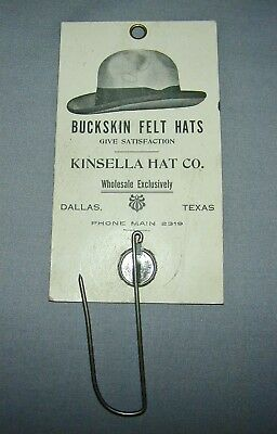 c.1930's Kinsella Hat Co Dallas TX Buckskin Felt Hats Advertising Bill Hook