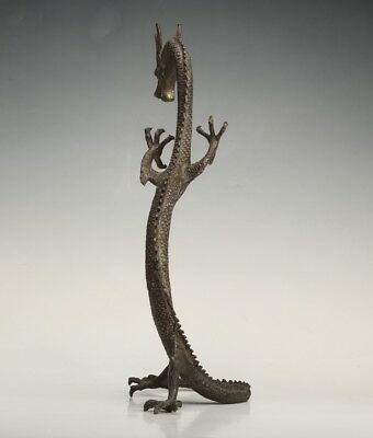 Large ChinA Antique Bronze Stand Statue Stands Dragon Sacred Old Collection