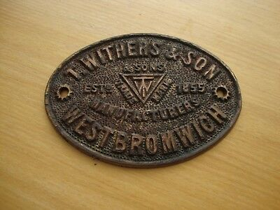 vintage safe plaque.... T WITHERS & SON ...WEST BROMWICH