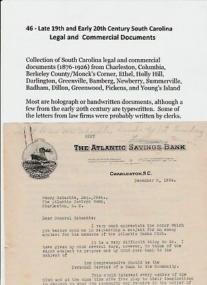 COLLECTION of 46 LEGAL & COMMERICAL DOCUMENTS from SOUTH CAROLINA (1876 - 1926)