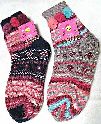 Joe Boxer Girls Slipper Socks 2 Pair - 1 Price Multi-Color Fits Shoe Sz 6-13.5