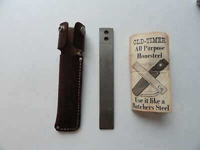 "Vtg Schrade Walden Old Timer Honesteel 7"" Knife Sharpener double hole w/ sheath"
