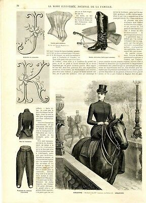 French MODE ILLUSTREE SEWING PATTERN March 8,1891 - Riding habits -side saddle