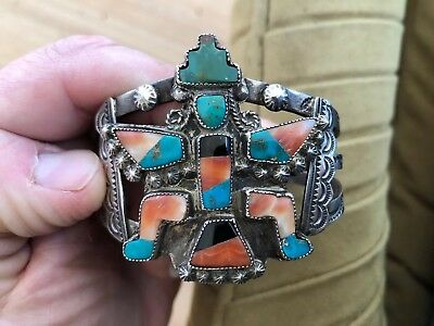 Fine! Old Pawn Zuni Indian Sterling Silver Inlaid Knifewing Cuff Bracelet