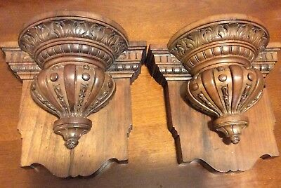 Antique Pair Acanthus Carved Walnut Mahogany Wall Corbel Sconce Bracket Shelf