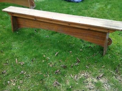 """Vintage Wooden School Bench 81"""" Two Available Pair Kitchen Garden Industrial"""