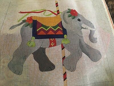 Dede for Eric ELEPHANT CAROUSEL ANIMAL Needlepoint Canvas  14 ct  FREE SHIPPING