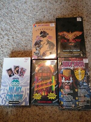 5 Sealed Boxes of 1990s Trading Cards Crow Stargate All My Children Judge Dredd
