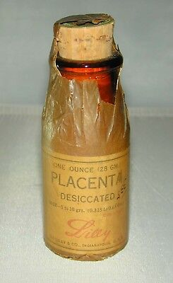 Vintage Medical Pharmacy Placenta Dessicated Unopened Apothecary Label Bottle