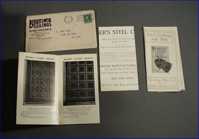 Three 1912 Berger's Metal Ceiling Fold-Out Flyers & Original Envelope