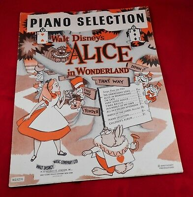 Alice in Wonderland Piano Selection Walt Disney Sheet Music 1951 Film Animation