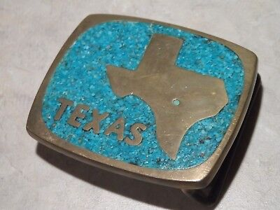 Vintage State Of Texas Brass & Turquoise Western Belt Buckle