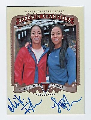 2013 Goodwin Champions Autographs Lisa and Miki Barber Track and Field