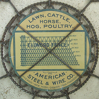 Vintage Ellwood Fence Tin Litho Sign American Steel & Wire Chas W. Shonk Co.