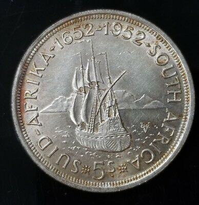 1952 South Africa 5 Shillings .500 Silver Coin [SC6544]