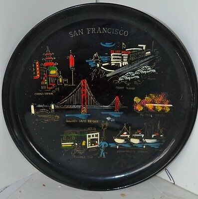 Vintage Ecco Tray Plate Hand Painted San Francisco Platter California